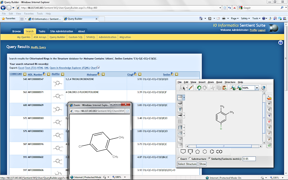 looking at the results from a chemistry related search in the sentient web query the scientist can either review structure metadata and audit or refine